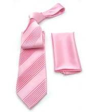 Antonio Ricci Diagonal Pleated Tie with Pocket Square - Pink
