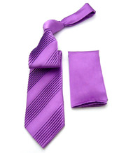 Antonio Ricci Diagonal Pleated Tie with Pocket Square - Lavender Purple