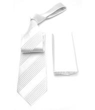 Antonio Ricci Diagonal Pleated Tie with Pocket Square - Bright White