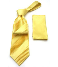 Antonio Ricci Diagonal Pleated Tie with Pocket Square - Yellow