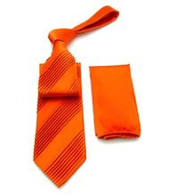Antonio Ricci Diagonal Pleated Tie with Pocket Square - Orange