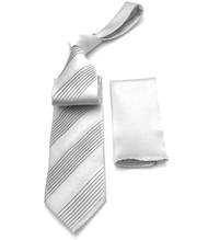 Antonio Ricci Diagonal Pleated Tie with Pocket Square - Silver