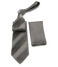 Antonio Ricci Diagonal Pleated Tie with Pocket Square - Dark Grey