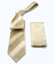 Antonio Ricci Diagonal Pleated Tie with Pocket Square - Ivory