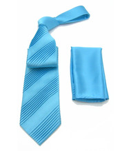 Antonio Ricci Diagonal Pleated Tie with Pocket Square - Light Blue