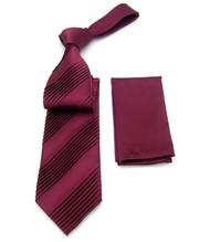 Antonio Ricci Diagonal Pleated Tie with Pocket Square - Wine Tone