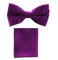 Antonio Ricci Pleated Bow Tie & Hankie Set - Purple