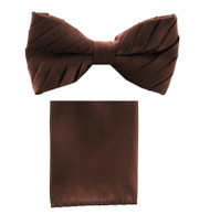 Antonio Ricci Pleated Bow Tie & Hankie Set - Brown