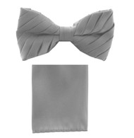 Antonio Ricci Pleated Bow Tie & Hankie Set - Silver Grey