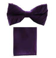 Antonio Ricci Pleated Bow Tie & Hankie Set - Dark Purple