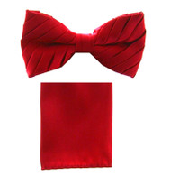 Antonio Ricci Pleated Bow Tie & Hankie Set - Red