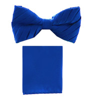 Antonio Ricci Pleated Bow Tie & Hankie Set - Royal Blue