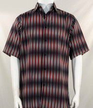 Bassiri Black & Red Blurred Line Design Short Sleeve Camp Shirt