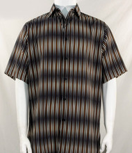 Bassiri Black & Brown Blurred Line Design Short Sleeve Camp Shirt