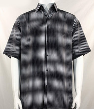 Bassiri Black & White Blurred Line Design Short Sleeve Camp Shirt