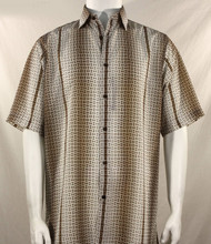 Bassiri Tan Petite Grid Pattern Short Sleeve Camp Shirt