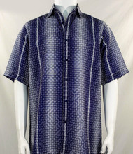 Bassiri Blue Petite Grid Pattern Short Sleeve Camp Shirt