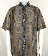 Bassiri Tan Cross-Hatch Design Short Sleeve Camp Shirt