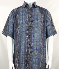 Bassiri Blue Cross-Hatch Design Short Sleeve Camp Shirt