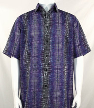 Bassiri Purple Cross-Hatch Design Short Sleeve Camp Shirt