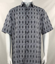 Bassiri Black Double Windowpane Pattern Short Sleeve Camp Shirt