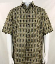 Bassiri Tan Double Windowpane Pattern Short Sleeve Camp Shirt