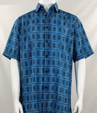 Bassiri Blue Double Windowpane Pattern Short Sleeve Camp Shirt