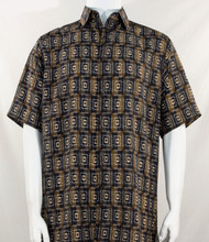 Bassiri Brown Double Windowpane Pattern Short Sleeve Camp Shirt