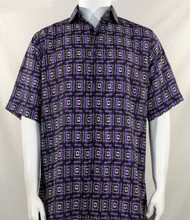 Bassiri Purple Double Windowpane Pattern Short Sleeve Camp Shirt