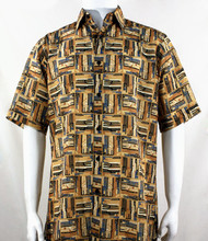 Bassiri Tan Abstract Block Pattern Short Sleeve Camp Shirt