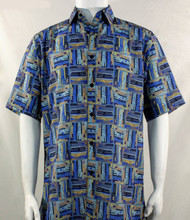 Bassiri Blue Abstract Block Pattern Short Sleeve Camp Shirt