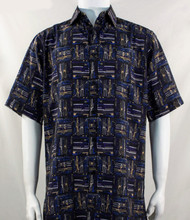 Bassiri Dark Blue Abstract Block Pattern Short Sleeve Camp Shirt