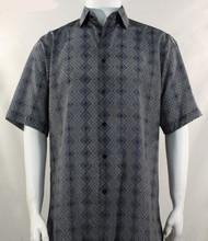 Bassiri Grey Diamond Design Short Sleeve Camp Shirt