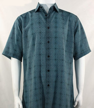 Bassiri Teal Diamond Design Short Sleeve Camp Shirt