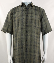 Bassiri Taupe Diamond Design Short Sleeve Camp Shirt