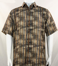 Bassiri Tan Abstract Line Pattern Short Sleeve Camp Shirt