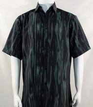 Bassiri Dark Green Abstract Botanical Design Short Sleeve Camp Shirt