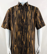 Bassiri Gold Abstract Botanical Design Short Sleeve Camp Shirt