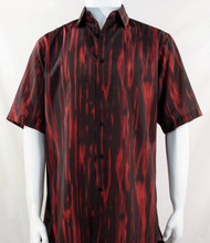 Bassiri Red Abstract Botanical Design Short Sleeve Camp Shirt