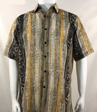 Bassiri Tan African Print Short Sleeve Camp Shirt