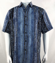 Bassiri Blue African Print Short Sleeve Camp Shirt