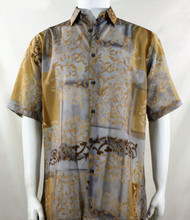 Bassiri Tan Abstract Fleur de Lis Design Short Sleeve Camp Shirt