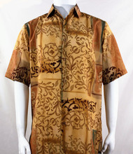 Bassiri Marigold Abstract Fleur de Lis Design Short Sleeve Camp Shirt