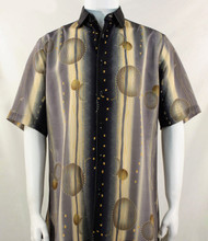 Bassiri Taupe Abstract Galaxy Design Short Sleeve Camp Shirt