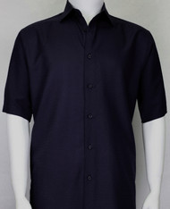 Bassiri Navy Weave Short Sleeve Camp Shirt