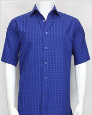 Bassiri Cobalt Blue Weave Short Sleeve Camp Shirt