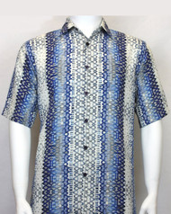 Bassiri Blue Spiral Weave Short Sleeve Camp Shirt