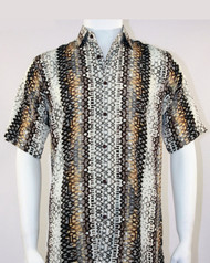 Bassiri Tan Spiral Weave Short Sleeve Camp Shirt