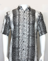 Bassiri Grey Spiral Weave Short Sleeve Camp Shirt