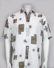 Bassiri Baroque Design Short Sleeve Camp Shirt